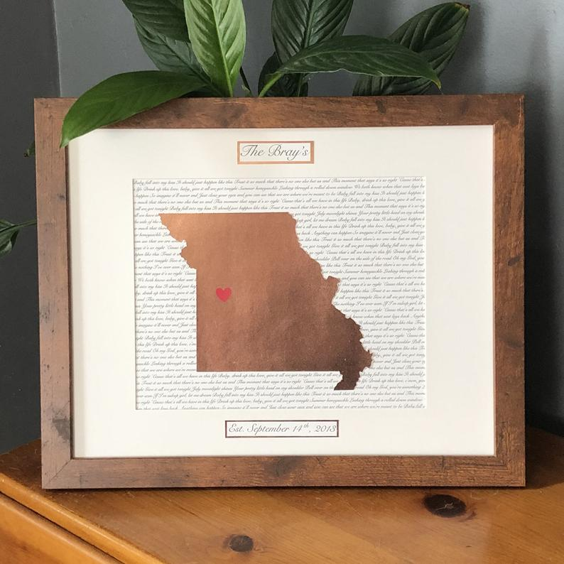 State wall art for anniversary